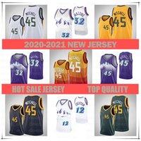 Männer 2021 Jersey 45 Donovan Mitchell27 Rudy Gobert12 John Stockton32 Karl Malonejersey Basketball