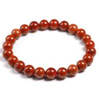 Браслет браслет натуральный подлинный красный яшмы круглые полудрагоценные камни шариков 6 8 10 мм браслеты женщин мужчины заживление ювелирных изделий аксессуары подарок
