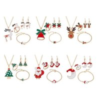 Serie natalizia regali a tema festa di Natale per bambini Girl Dripper Elk Bell Bell Braccialetto Braccialetto Set di gioielli Set Orecchini Collana Bracest Set Regali di Natale G8614XP