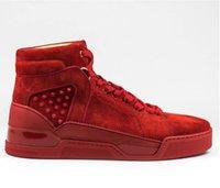 قوي - رجل الرجعية حذاء عالية قمم حمراء أسفل المطاط الأحذية loubikick شقة الجلد المدبوغ الفلامنكو سوبر جودة سوبر حذاء رياضة أحذية رياضية الدانتيل متابعة المدربين الرياضة
