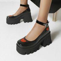 Sianie Tianie Punk Goth Patent PU Deri Kare Toe Lolita Kızlar Ayakkabı Kalp Platformu Tıknaz Yüksek Topuklu Kadınlar Mary Janes Pompaları Elbise