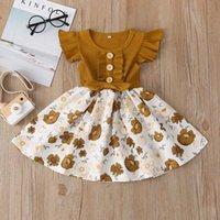 Yaz Moda Bebek Kız Çocuk Kısa Kollu T-shirt Patchwork Çiçek Elbise Elbise Prenses Tutu Kızın