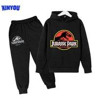 2 PCs Suits Jurassic Park World Dinosaur Sweatshirt Teen Boys Autumn Hoodies For Children Clothing Sets Kawaii Girls Sweatshirts G0917