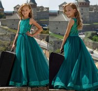 Dark Green Sequined A-line Flower Girl Dresses Formal Wedding Elegant Prom Evening Party Birthday Pageant Gown In Stock