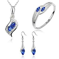 Silver colorJewelry Sets Fashion Water Drop Blue Pink Clear Zircon Crystal Necklace Bangles Earrings Set Luxury Jewelry