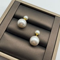 Top Quality Brass Women Designer Studs Classic size pearls front and rear design simple earrings Engagement Jewelry Lady Party Gifts