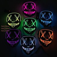 Neon LED Halloween Mask Glow In Dark Mask Light Up Scary Skull Face Mask Funny Masks Masquerade Masks Party Cosplay Supply Gift VT0382