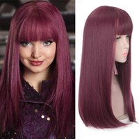 Synthetic Wigs HOUYAN Red Plum Color Mid-length Straight Hair Wig Brown Black Natural Full Headwear Cosplay