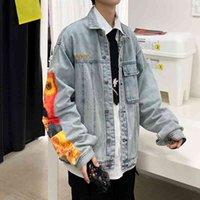 도매 2021 패션 워시 패치 데님 남성 봄 가을 잘 생긴 옷 한국 힙합 탑 야생 자수 자켓