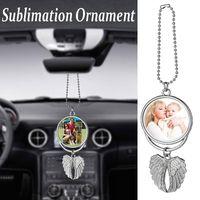 Sublimation Große Flügel Halsketten Party Anhänger Blanks Auto Anhänger Engelsflügel Rückspiegel Dekoration Hängende Charme Ornamente FY4406