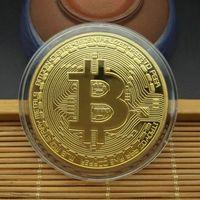 100pcs Gold Bitcoins 40 * 40 * 1.5mm Artigianato Artigianato Creativo Souvenir Gold-placcato Bit-Coin Collezione Pitting Coin Coin Coin Coin Golden Golden Coin; DHL
