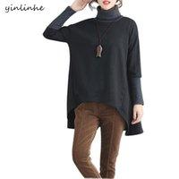 Women's Hoodies & Sweatshirts Yinlinhe 2021 Women Black Winter Big Size Warm Loose Vintage Tuurtleneck Long Sleeve Irregular Pullovers 744