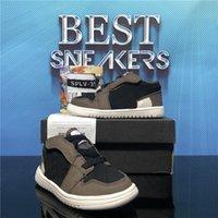 최고 품질의 점프 맨 1 낮은 높은 아기 아이 농구 신발 Travis Scotti 흑요석 시카고 소년 소녀 어린이 유아 스포츠 트레이너 운동화 상자 크기 22-35 EUR