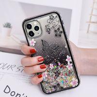 Женщины Diamond Flowers Butterfly Glitter Сотовый Телефон Чехлы для iPhone 6 7 8 Plus X XS XR 11 12 PRO MAX Жидкость Quicksand Bling Shippe