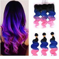 Бразильские человеческие волосы # 1B синий розовый омбре волна тела 3 со с лобовым 3Tone Ombre Body волнистые кружева лобное закрытие 13x4 с ткачами