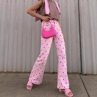 Women's Pants & Capris 90s Heart Print Sweat Cute High Waist Long Skinny Pocket Trousers Ladies Fashion Y2K Streetwear Bottoms