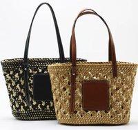 Trendige Strandtaschen handgefertigte gewebtes Tasche Luxusdesigner Drei Farbhandtasche Damen Totes wiederverwendbar 26cm * 23 cm * 12 cm # C320