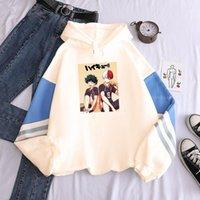 Women's Hoodies & Sweatshirts Japan Anime My Hero Academia Haikyuu Printing Patchwork Hooded Men Harajuku Cartoon Streetwear Winter Hoodie