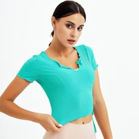 Yoga Outfit TaoBo Candy Color Girl Short Sleeve Sports T-shirt Ruffle Design Bandage Navel Fitness Tops Gym Running Training