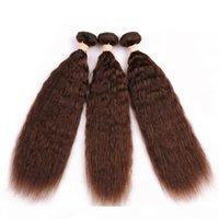 # 4 mittelbraun malaysischer verworrenes gerades menschliches haar 3 bündel 300gram schokolade braun grob yaki menschliche haare weave fepts verlängerung 10-30que