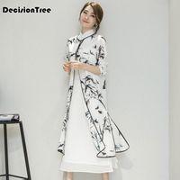 2019 여름 여성의 새틴 청사 이브닝 드레스 중국어 오리엔탈 QiPao 드레스 전통 중국어 잉크 그림 드레스 B0PK #