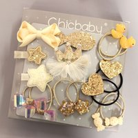 South Korea new Unicorn sequins crown bow 15 pieces baby and children hair clip set gift box wholesale