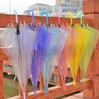 Transparent paraply Klar PVC Långt handtag Candy Färg Paraplyer för 8 Bone Regn Cover Sun Protective HWD11038