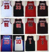 كلية ترتدي التطريز 33 # Scottie Pippen Shirt أحمر أبيض أسود شريط 91 # دينيس رودمان جيرسي رجل قمصان رياضية الفانيلة مخيط S-XXL