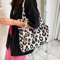 Evening Bags Fashion Women Canvas Clutch Pink Leopard Handbag Travel Satchel Casual Tote Top-Handle Large Capacity Shoulder Bag