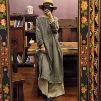 Johnature-vestido Vintage holgadas cuadros para mujer, ropa lino cmoda de manga larga a media pantorrilla Natural con cuello redondo