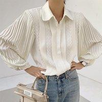 Women's Blouses & Shirts [EWQ] Turn-down Collar Women Lace Blouse 2021 Spring Blusas Tops Elegant Office Ladies Pleated Sleeve