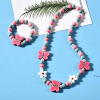 Favor de la fiesta 8 Estilos Collar de niños Conjuntos Accesorio Colorido Fox Rabbit Unicornio Charm Beads and Pulset Girl Jewelry HWB9244