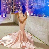 Saudi Arabic Mermaid Prom Dresses Simple Designed Pink Long Evening Gowns Satin Abiye gala jurken Strapless Formal Dresses