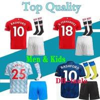 Men Kids Kit 20 21 Man Pogba Soccer Jersey  2020 2021 United Jerseys Alexis Rashford Lingard Football Shirt Boys Rashford K