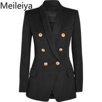 Ternos femininos Blazers Meileiya Moda 2021 Runway Style Gold Botões Duplo Breasted Blazer Outerwear Plus Size S-XXL