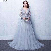 Bridesmaid Dress Lace Long Sleeve V Neck Backless Silver Dusty Pink Wedding Party Gown Sweep Train Vestido De Festa Casamento