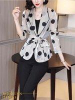 여성 여름 도트 Organza 턴 다운 칼라 긴 소매 정장 재킷 느슨한 붕대 플러스 사이즈 블라우스 사무실 숙녀 세련된 블렛 코트 여성용 jacke