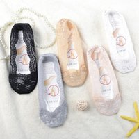 1Pairs Women's Slippers Socks Invisible Boat Mesh Lace Thin Short Socks Female Summer Ankle Silicone No Show Socks Non-slip