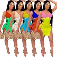 Women summer Casual Dresses Designer Fashion women's digital printing breast wrapped double zipper sleeveless split bag hip dress