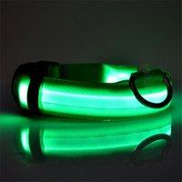 Nylon LED Pet Dog Colletto Night Safety Lamped Glow In The Dark Dog Leash Dogs Collari fluorescenti luminosi Luminosi Forniture per animali domestici 164 V2