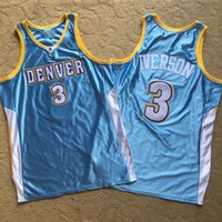 2021 Урожай Мужчины Ретро Классический Баскетбол Джерси Аллен 3 Иверсосон Mercerized Blue Mesh Вышивка Требовые Дышащие S-2XL