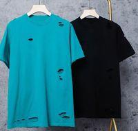 21OFICIALES NUEVOS MENS Camisetas Moda Verano Hip Hop Tee Mans Mujeres Mujeres Diseñador de lujo de manga corta Hombres Agujero Estilo Tees Parejas Cuello redondo Tamaño S-XXL