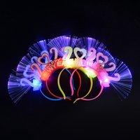 Feliz ano novo festa de natal piscando colorido 2022 luz emissão de cabelo faixa de cabelo óptico fibra diodo emissora de festa de festa de festa de festa