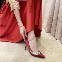 Dress Shoes Red Wine Champagne Women Bridal Wedding Faux Silk Satin Rhinestone Crystal Shallow Woman Pumps Stiletto High Heel 7 9.CM