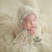 Handmade Baby Girl Lace Bonnet And Wrap Set Stretch Knit Hat Swaddle Blanket Cocoon Born Outfit Po Props Clothing Sets
