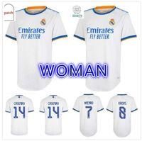 Femmes Real Madrid Maillots 21 22 Chemise de football de football Alaba Hazard Sergio Ramos Benzema Asensio Modric Marcelo Camiseta T 2021 2022 Quatrième