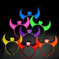 LED Devil Horns Light Headband Party Flashing Hair Hoop Świecące Światła Sznurowe Zawijające Halloween Prezent Glow Dostawy Beauty Decor WZG TL1085