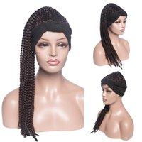 Perucas sintéticas tranças tranças tranças peruca longa trança de trança para as mulheres afro diário lenço de cabelo falso envoltório natural olhando