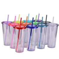 24oz Acrylic Skinny Tumblers Matte Plastic 12 Color Tumbler with Lids and Colored Straws Tarped bottles Water Cup Summer Cups A13