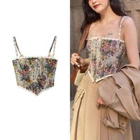 Women's Tanks & Camis Vintage Corset Tops To Wear Out Sexy Floral Bustier Crop Top Tank Lace Up Women Flower Camisole